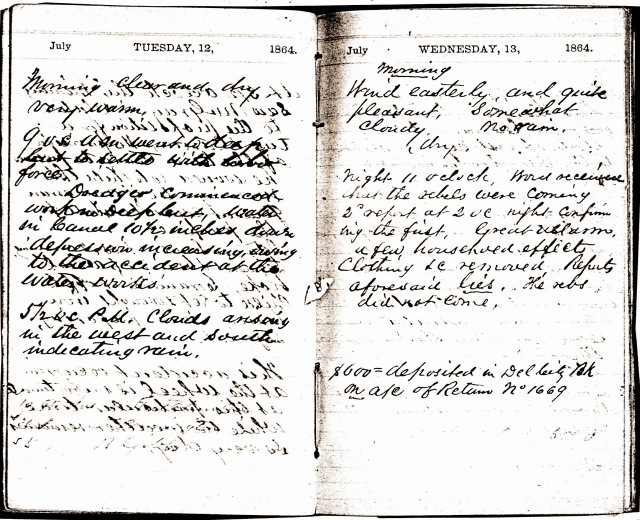 July 1864 diary page from C & D Canal Manager