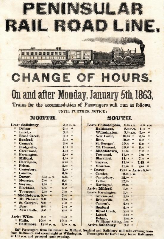 raillroad schedule 1863 delmarva