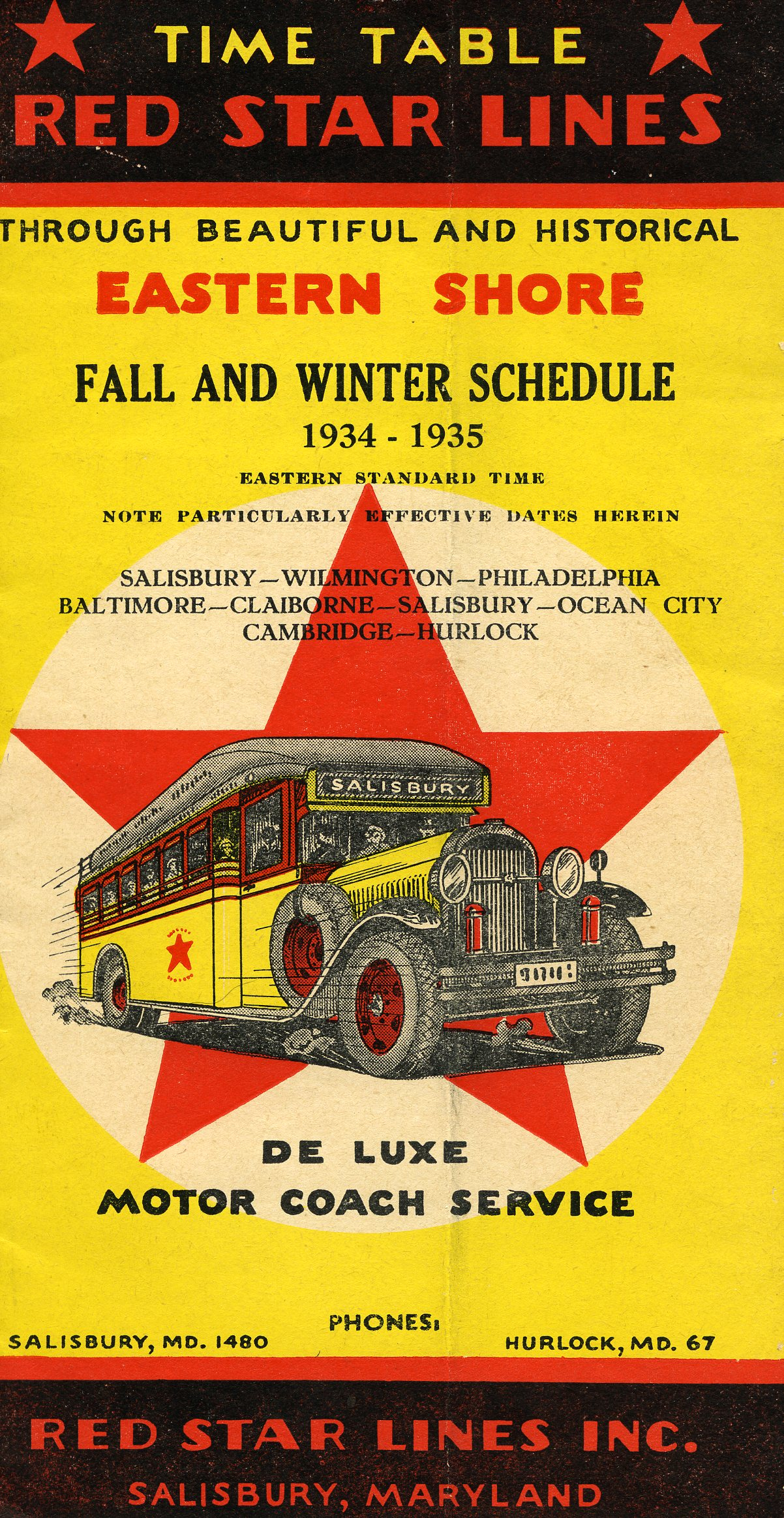 Red Star Lines Bus for Claiborne, Tolchester, Chestertown
