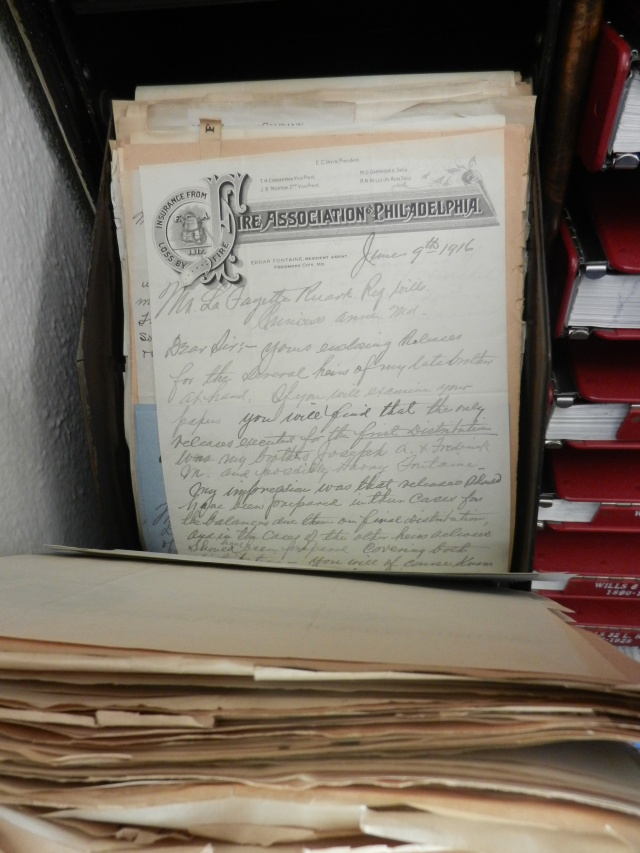 in the Register of Wills' Office there are these old-fashioned letter press files containing helpful correspondence about the settlement of estates and the business of the Orphan's Court.
