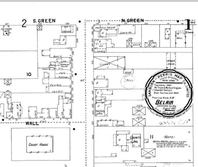 Sanborn Fire Insurance Map of Bel Air, 1897; Source Enoch Pratt Library
