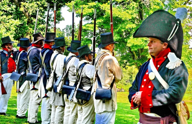 War of 1812 Re-enactors representing the Eastern Shore Militia drill for the crowd.