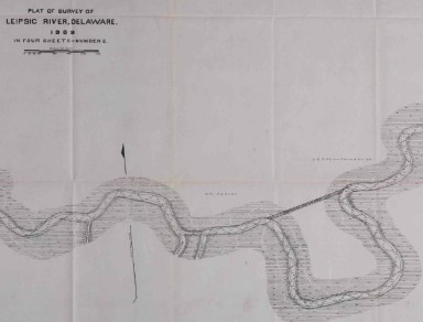 A section of the map of the Leipsic Rivers from the Army Corps of Engineer's Report.  Map dated 1909 and published in report of 1910.  Source:  National Archives