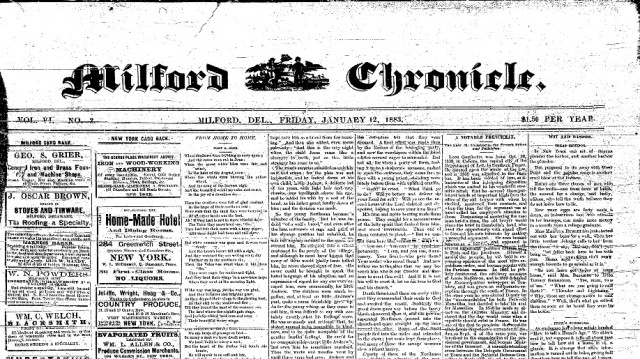 A Milford Chronicle front-page from 1883.