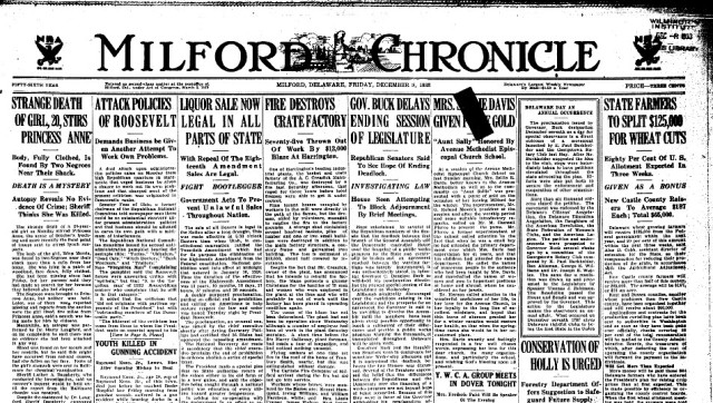 The Milford Chronicle has been digitized by the Milford Library.  This is the front page of a 1933 issue.
