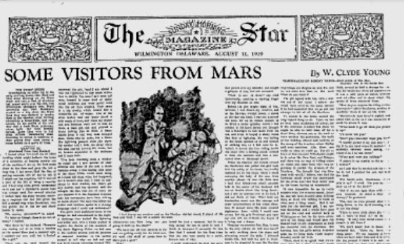Delaware receives some visitors from Mars.  An article in the Sunday Morning Star, Wilmington, 1929.