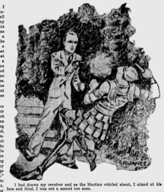 The article included weekly illustrations.  A Wilmington newspaper man kills a Martian. Source:  Sunday Morning Star, 1929.