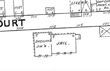Sanborn Map showing the Dorchester County Jail in 1891.