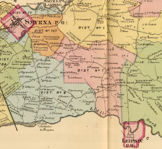 The 1868 Beers Atlas of Delaware shows the area between Smyrna and Leipsic, where the lynching occurred.