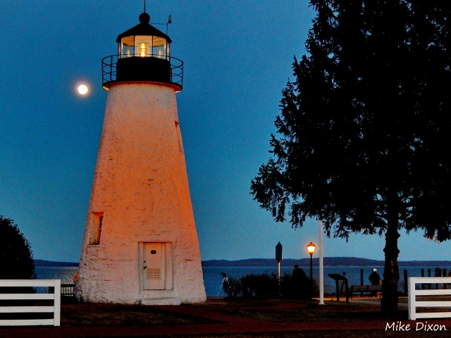 Worm Moon rising over Concord Point Lighthouse in Havre de Grace on March 15, 2014.