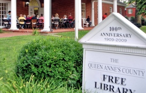 The program took place on the porch of the Queen Anne's County Free Library in Centreville.