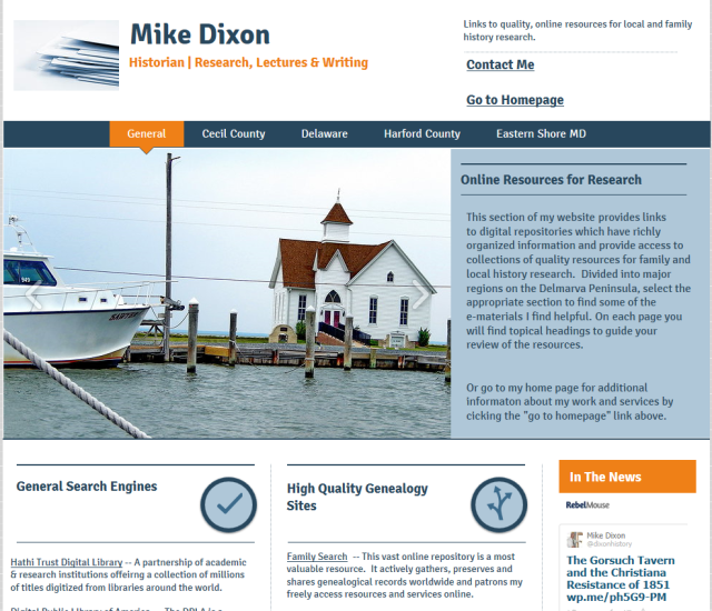 This curated site links to rich content digital pages, which help with family and local history research on Delmarva.