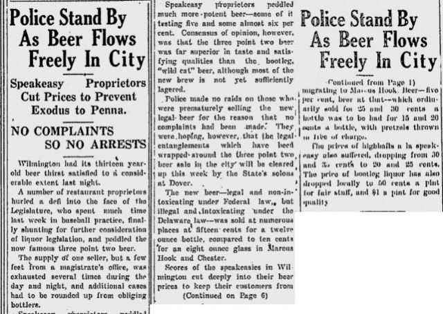 Wilmington police stand by as beer flows freely in the city.  Source:  Wilmington Morning News, April 9, 1933