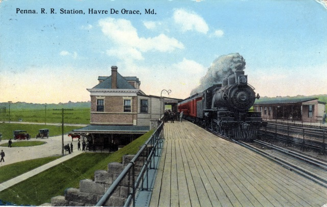The Pennsylvania Railroad Station in Havre de Grace.  A postcard, circa 1914.  source:  personal collection.