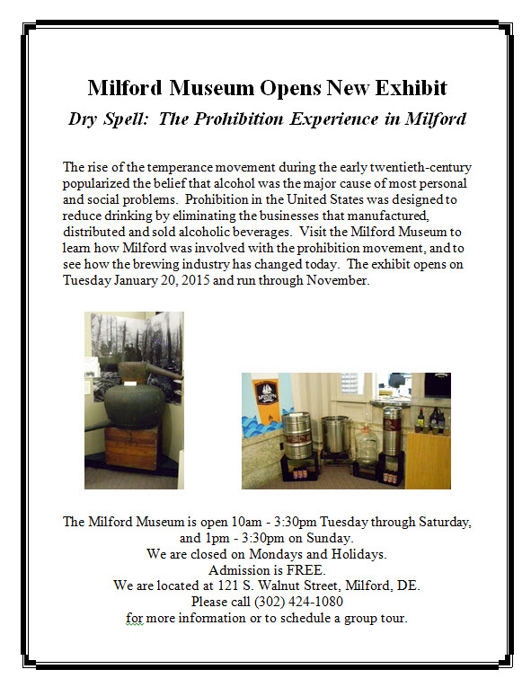 Milton Museum opens new exhibit:  Dry Spell:  The Prohibition Experience in Milford.