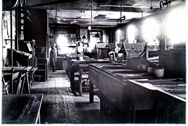 The composing room of the Journal Every Evening, a Wilmington Delaware newspaper, in September 1905.  Source:  personal collection.