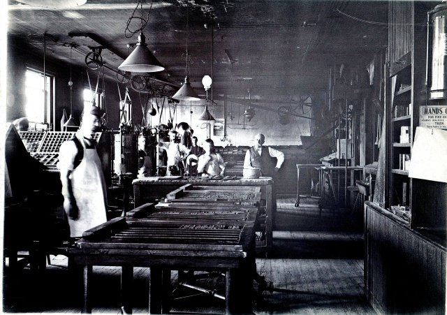 The composing room of a Wilmington newspaper, the Journal Every Evening, in September 1905.  source:  personal collection.