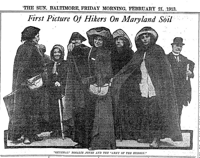 The first picture of the suffrage hikers on Maryland soil.  source:  Baltimore Sun, February 21, 1913