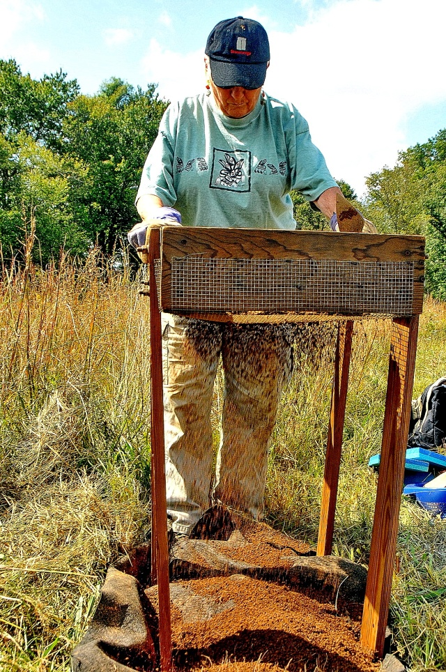 A member of the Archeological Society of the Northern Chesapeake at the Lewisville, PA area dig.
