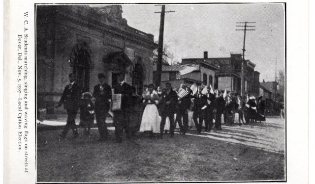 Wilmington Conference Academy marches for local option (prohibition) in Dover, Delaware.  source:  personal collection.
