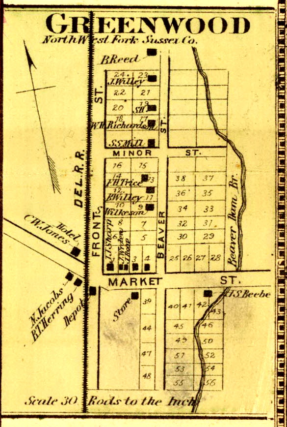 Greenwood Delaware from the Beers Atlas of 1868.  Source David ?Rumsey Map Collection Online  http://www.davidrumsey.com/luna/servlet/detail/RUMSEY~8~1~33429~1170915:Northwest-Fork-?sort=pub_list_no_initialsort%2Cpub_date%2Cpub_list_no%2Cseries_no&qvq=q:sussex%2Bcounty%2Bdelaware;sort:pub_list_no_initialsort%2Cpub_date%2Cpub_list_no%2Cseries_no;lc:RUMSEY~8~1&mi=1&trs=10#