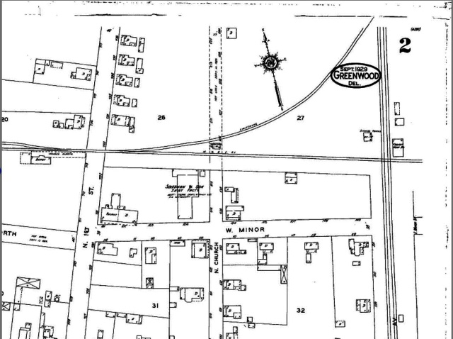This is a Sanborn Map of 1924, some 20 years after the incident.  It is the only detailed map of Greenwood I have located thus far and was the only series Sanborn published for the town.  source:  Sanborn Fire Insurance Map, 1924.