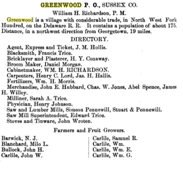 The Delaware State Gazeteer for 1874 describes the village a number of decades before the accident.  Source:  Delaware state Gazetteer 1874 via Google Books