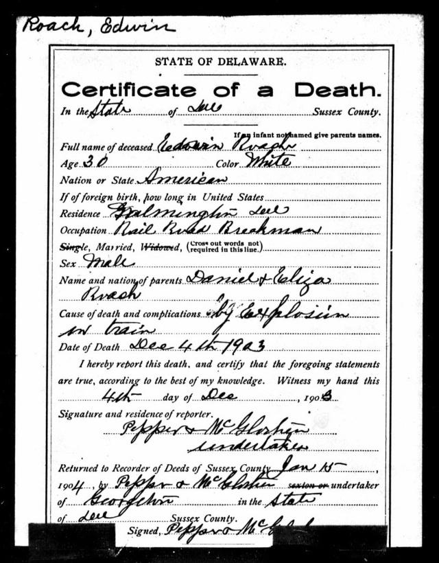 greenwood death certificate edwin roach