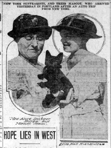 New York Suffragists, and their mascot, Saxon, in Portland after an auto trip for NY.     source:  Philadelphia Ledger, July 9, 1916