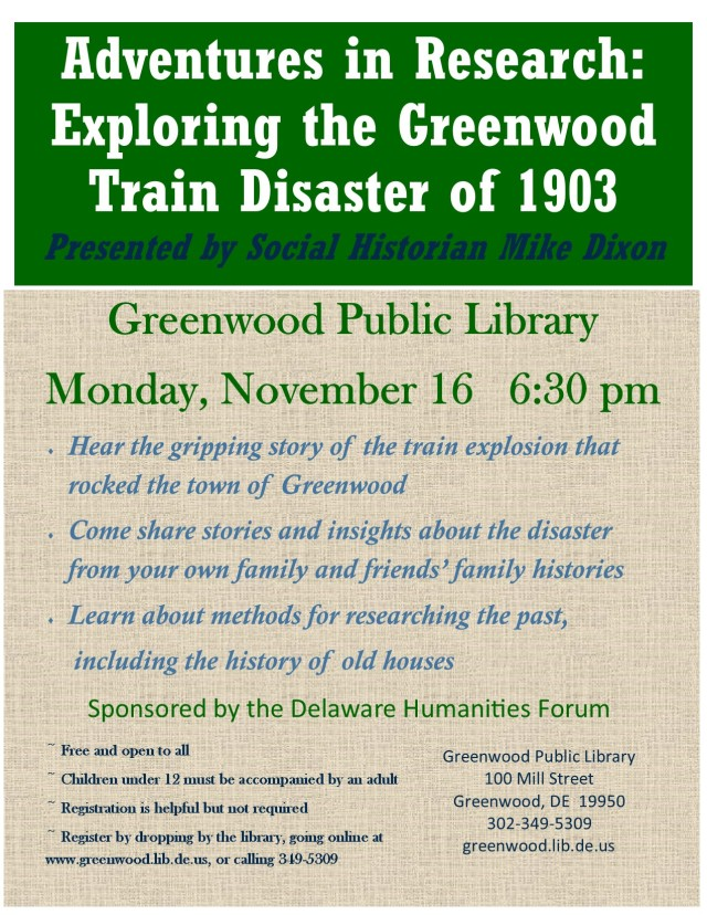 Greenwood Library program on Greenwood Disaster sponsored by the Delaware Humanities Forum