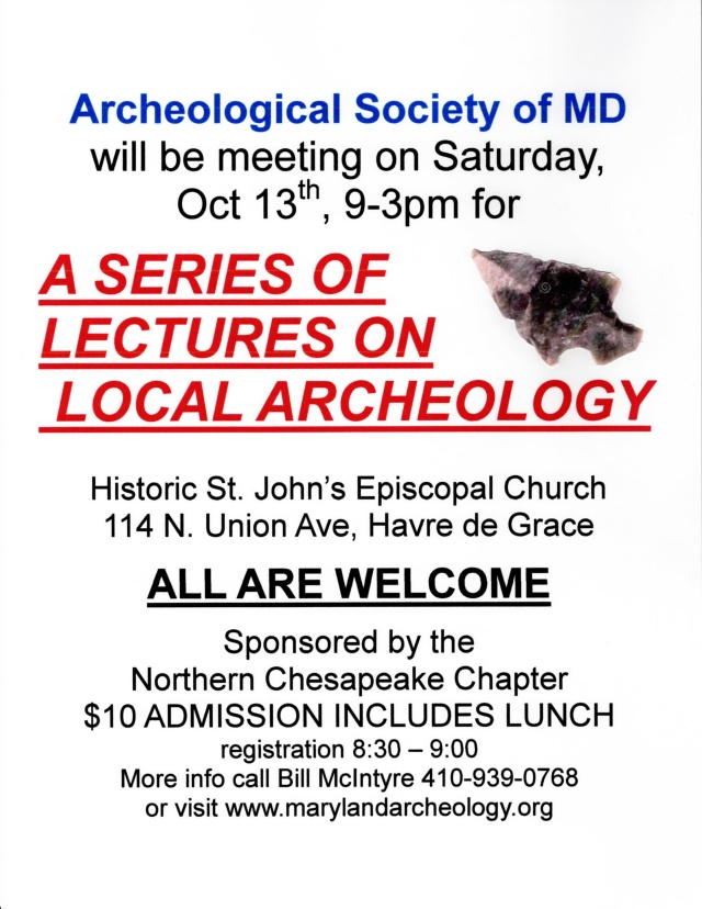 Archeological Society of Maryland Hosts Lecture on Local Archeology